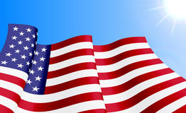 Waving USA flag on azure sky background. Can be used for logos, business identity, print products, page and web decor, signs, placards, backgrounds or other Stock Image
