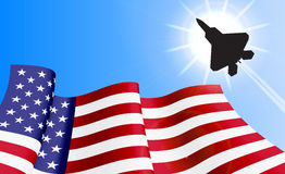 Waving USA flag on azure sky background. Waving USA flag with with F22 fighter on azure sky background. Can be used for logos, business identity, print products Royalty Free Stock Photography