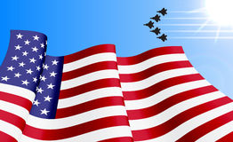Waving USA flag on azure sky background. Waving USA flag with with F22 fighters unit on azure sky background. Can be used for logos, business identity, print Royalty Free Stock Photo