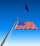 Waving_USA_flag_eagle Stock Photos