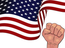 Waving USA flag isolated on white background. Waving USA flag bottom half and man hand squeeze in fist isolated on white background stock illustration