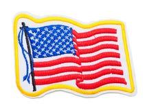 Waving USA Flag Patch Stock Photos
