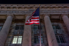 Waving USA Flag in Washington DC. Night Photo Shoot. Royalty Free Stock Photos