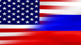 Waving USA and Russia Flag, ready for seamless loop stock video