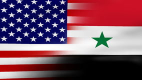 Waving USA and Syria Flag, ready for seamless loop stock video footage