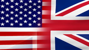 Waving USA and UK Flag, ready for seamless loop stock footage