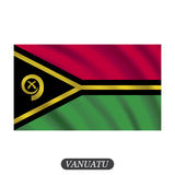 Waving Vanuatu flag on a white background. Vector illustration Royalty Free Stock Images