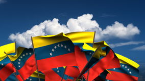 Waving Venezuelan Flags stock video