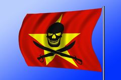 Waving pirate flag combined with Vietnamese flag. Waving Vietnamese flag combined with the black pirate image of Jolly Roger with cutlasses Royalty Free Stock Photo
