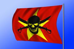 Waving pirate flag combined with Vietnamese flag. Waving Vietnamese flag combined with the black pirate image of Jolly Roger with cutlasses Stock Image