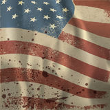 Waving vintage American flag textured background. With dry blood spots. Vector, EPS10 Royalty Free Stock Photo