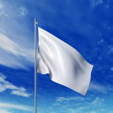 Waving white flag. Against cloudy sky. High resolution  render Stock Photo