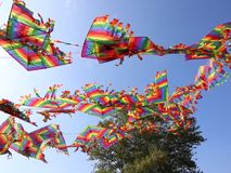 Kites in the wind. Waving in the wind colorful kites stock video footage