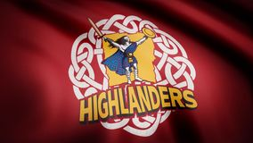 Waving in the wind flag with the symbol of the Rugby team the Highlanders. Sports concept. Editorial use only.  royalty free stock photography