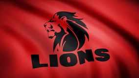 Waving in the wind flag with the symbol of the Rugby team the Lions. Sports concept. Editorial use only.  vector illustration