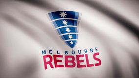 Waving in the wind flag with the symbol of the Rugby team the Melbourne Rebels Sports concept. Editorial use only. Waving in the wind flag with the symbol of the vector illustration