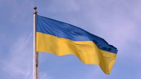 Waving in the wind Flag of Ukraine against the blue sky. Close up stock footage