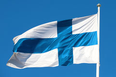 Waving in the wind national flag Finland Royalty Free Stock Photo