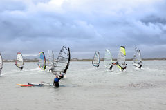 Waving wind surfer racing in the Atlantic storm winds Royalty Free Stock Photography