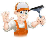 Waving Window Cleaner With Squeegee Stock Images