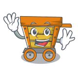 Waving wooden trolley character cartoon. Vector illustration stock illustration