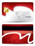 Waving world credit card design. Waving world red credit card design Royalty Free Stock Images