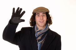 Waving young man Stock Images