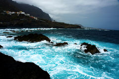 Wavs and coastline during storm Royalty Free Stock Photography