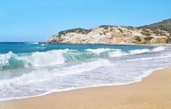 Wavy Aegean sea at North Euboea Greece Stock Photos
