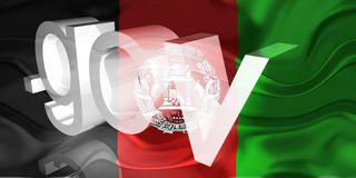 wavy afghanistan flaggaregering royaltyfri illustrationer