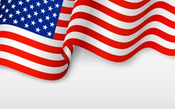 Wavy American Flag vector illustration