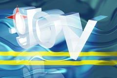 wavy aruba flaggaregering vektor illustrationer