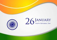 Wavy background. Colors of India. Republic Day 26 January vector design Stock Photography