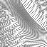 Wavy background of lines. Monochrome dynamic surface with effect of optical illusion. Vector royalty free illustration