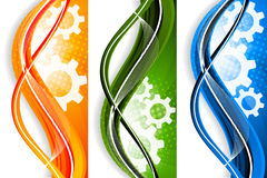 Wavy banners with gears Royalty Free Stock Image