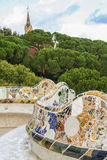 Wavy bench of parc guell& x27;s terrace Royalty Free Stock Photo