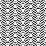 Wavy, billowy, undulating lines. Seamless geometric monochrome p. Attern / texture.- Royalty free vector illustration Royalty Free Stock Photo