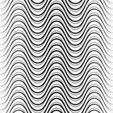 Wavy, billowy, undulating lines. Seamless geometric monochrome p. Attern / texture.- Royalty free vector illustration Stock Photo