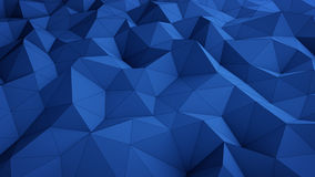 Wavy blue low poly surface abstract 3D rendering. Wavy blue low poly surface. Abstract 3D rendering Royalty Free Stock Image