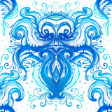 Wavy blue pattern painted with watercolor Royalty Free Stock Photography