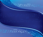Wavy blue vector background - musical design Stock Photography