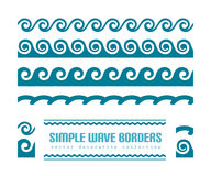 Wavy borders set. Set of simple wavy borders and constituent elements, decorative wave patterns on white vector illustration
