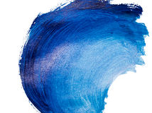 Wavy brushstroke painted with acrylic paints. On white background royalty free stock photo