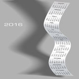2016 Wavy Calendar With Shadow Royalty Free Stock Photos