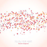 Wavy card with tiny pink hearts. Text frame. Royalty Free Stock Photos