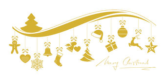 Wavy Christmas border with a set of hanging ornaments Stock Photo