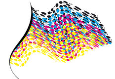 Wavy CMYK spots with copy space horizontal Royalty Free Stock Photos