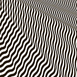 Wavy crossed stripes optical illusion black and white vector Stock Images