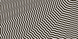 Wavy crossed stripes optical illusion black and white vector Royalty Free Stock Photography