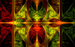 Wavy elliptic red-green pattern. Vivid red-green fractal background Stock Images